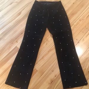 Wilson's black suede scattered crystals pants, 4